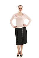 Шелковая юбка с заклепками, фото 1