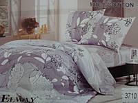 Сатиновое постельное белье полуторное ELWAY 3710