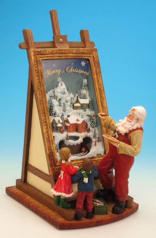 Музыкальная декорация Санта рисует картину с детьми