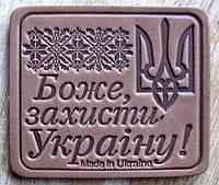 Магнит на холодильник зі шкіри Боже захисти Україну!, фото 1