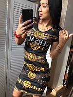 6db65ed93d46 Облегающее женское короткое трикотажное платье VERSACE с принтом.  Арт-7154 60