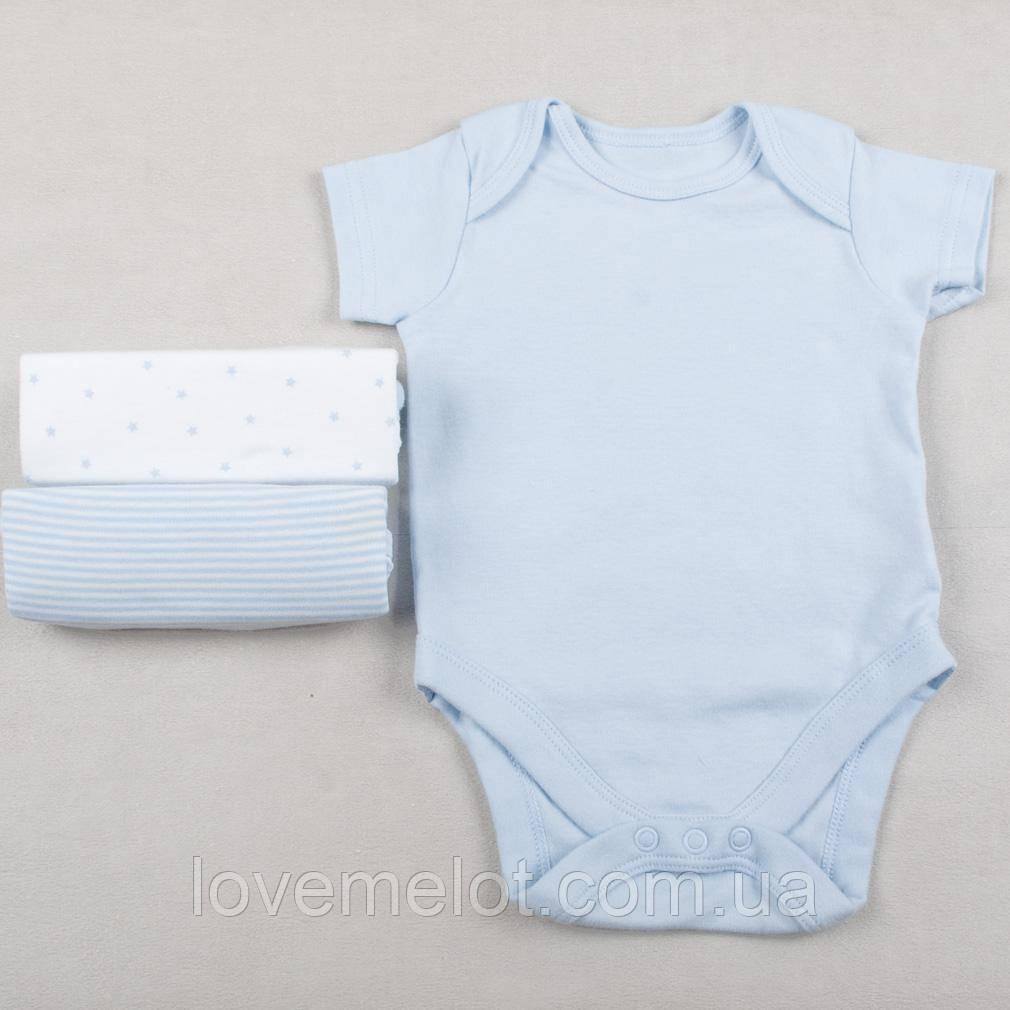 """Бодіки для новонароджених бодіки для хлопчика Mothercare """"Милий"""", набір 3 шт, зростання 44см 56см 62cm"""