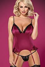 Комплект Obsessive 845-COR-5 corset Малиновий з чорним