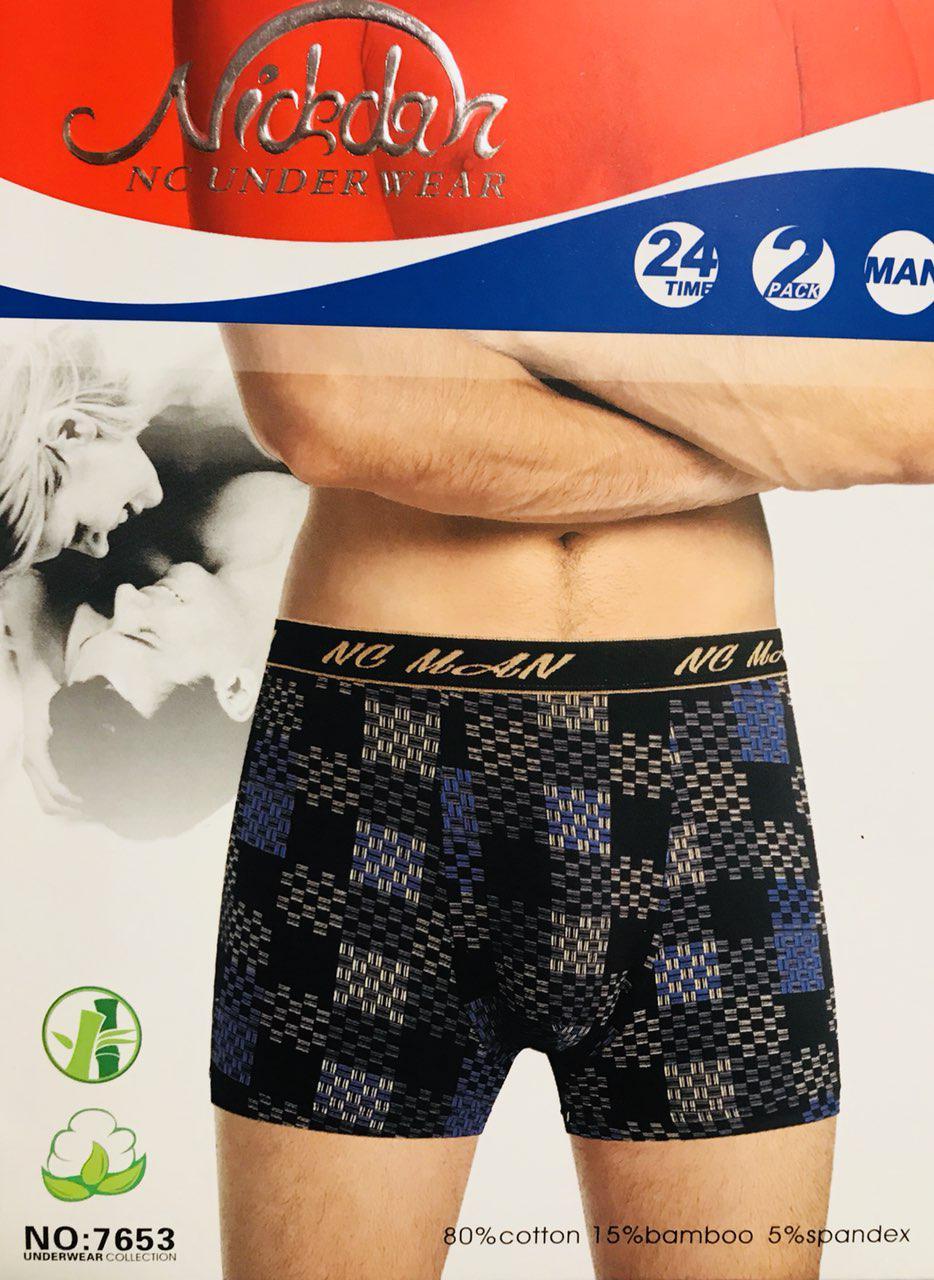 Трусы мужские боксёры хлопок + бамбук Nickdan размер L-3XL(46-56) 7653