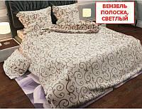 Евро набор постельного белья - Вензель полоска, светлый