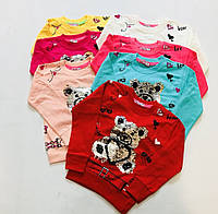 Батник для девочки на 2-6 лет красного, розового,молочного,персикового,желтого цвета мишка перевертыш оптом