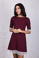 Бордовое платье трапеция 108-1