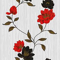 Обои на стену,  бумажные, цветы, красный, черный, серый,  Эстель 1382, 0,53*10м, фото 3