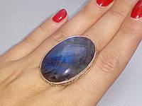 Лабрадор кольцо с натуральным лабрадоритом 17,0-17,3  размер Индия, фото 1