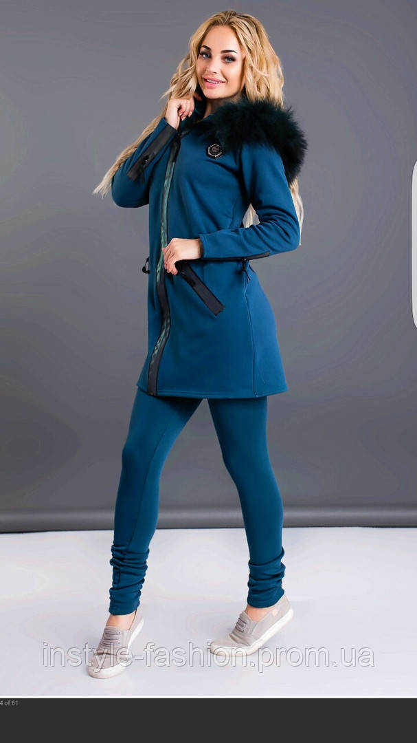 Женский спортивный теплый костюм с капюшоном на меху до 54 размера цвет зеленый