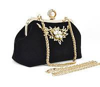 Велюровый клатч Rose Heart 1752 черный, сумочка на цепочке , фото 1