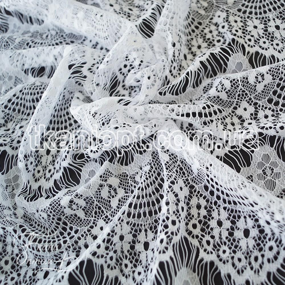Ткань Гипюр реснички тонкие (белый)