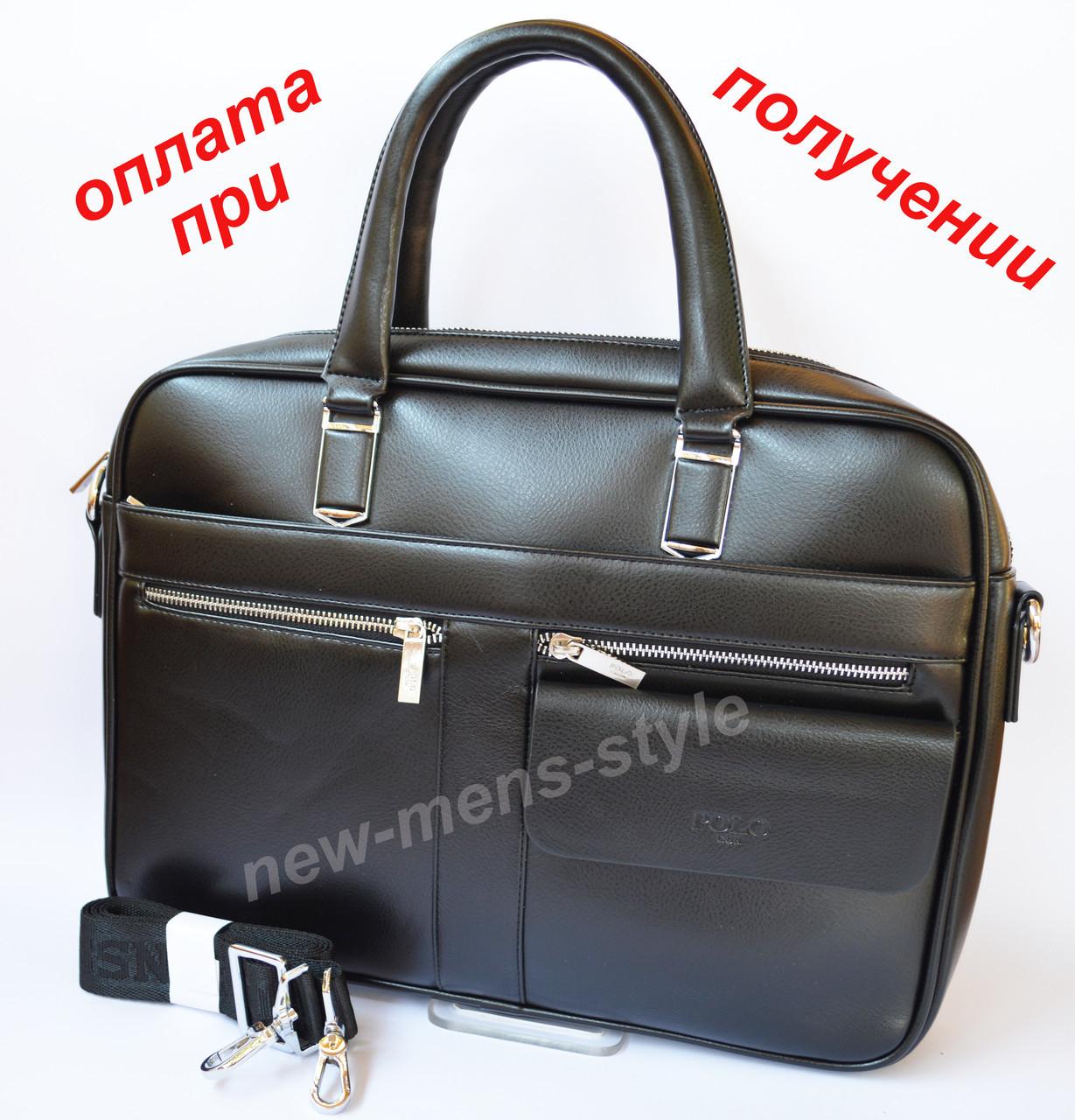 Мужская деловая кожаная фирменная сумка портфель Polo для документов A4