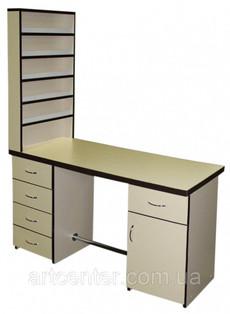 Стіл для манікюру двотумбовий з висувними ящиками і полицями для лаків