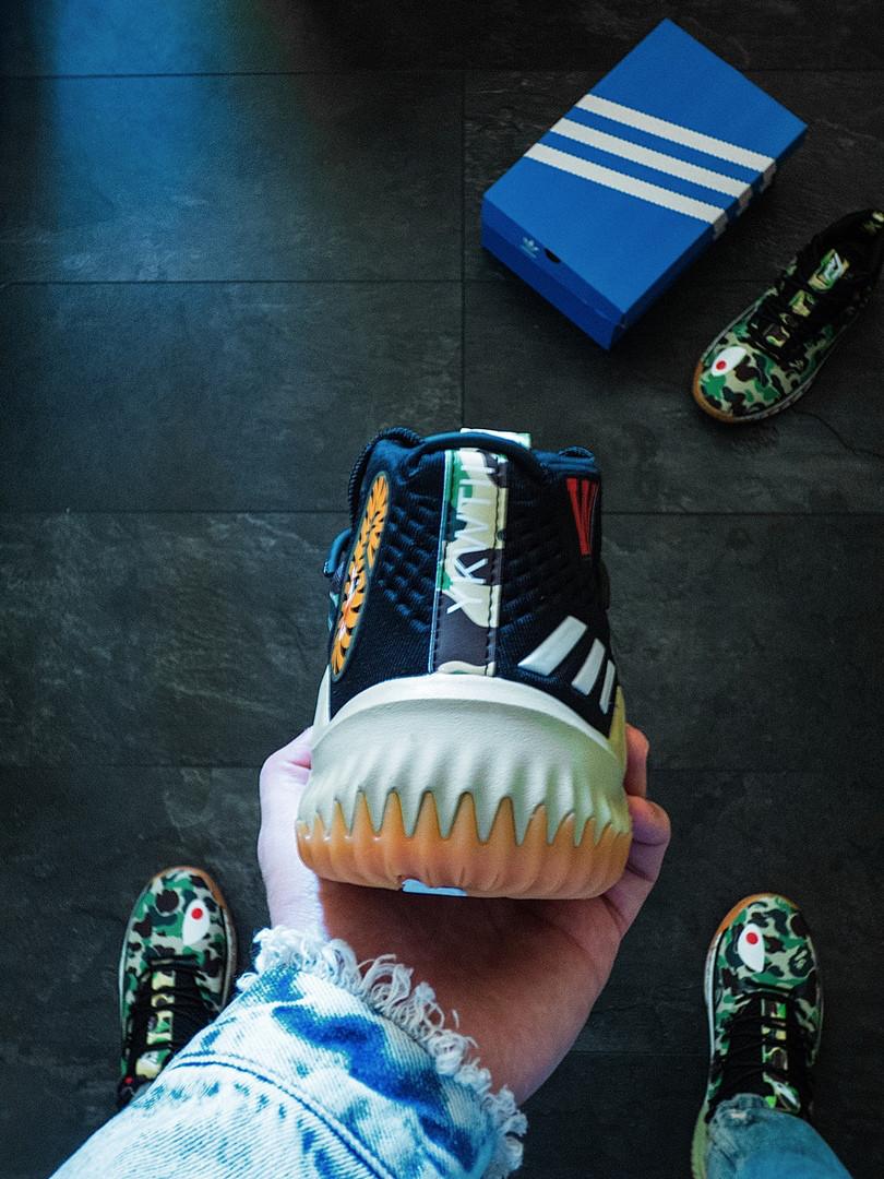 мужские кроссовки Bape X Adidas Dame 4 Camo Green топ реплика