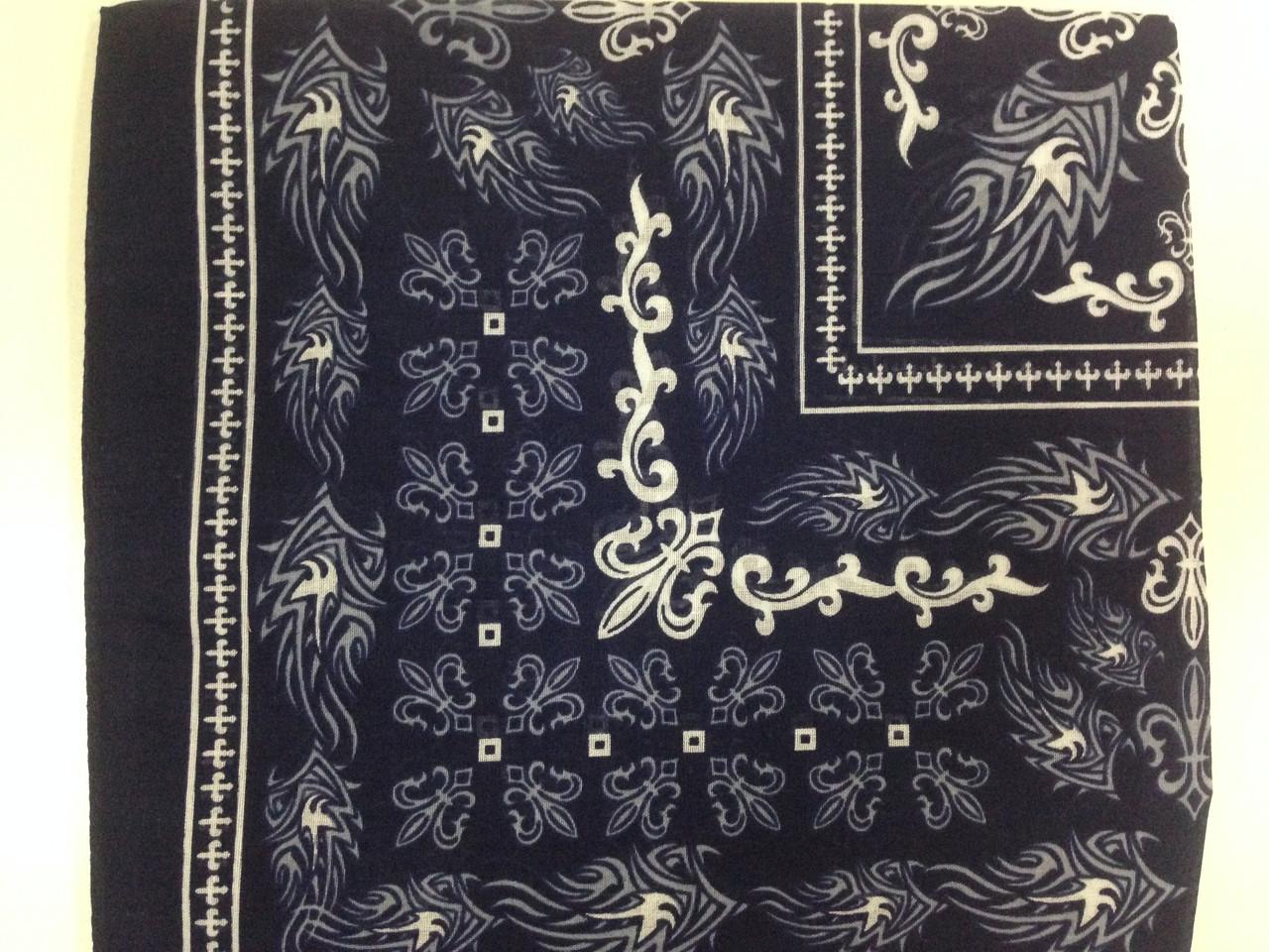 Тёмно синяя бандана - платок летняя из хлопка с рисунком размер 55 х 55 см