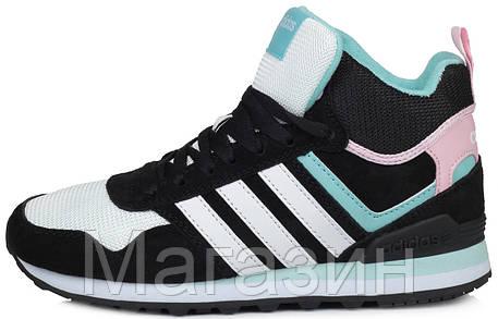 Женские высокие кроссовки Adidas 10XT WTR MID Black White Pink Адидас 10 ХТ черные, фото 2