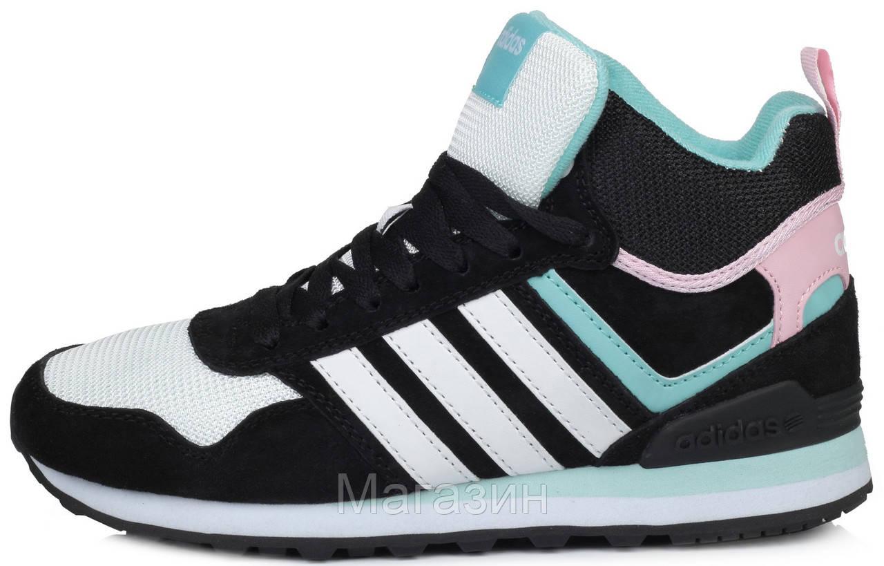 Женские высокие кроссовки Adidas 10XT WTR MID Black White Pink Адидас 10 ХТ черные