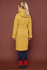 Женское шерстяное пальто с капюшоном, желтое, р.56, фото 3