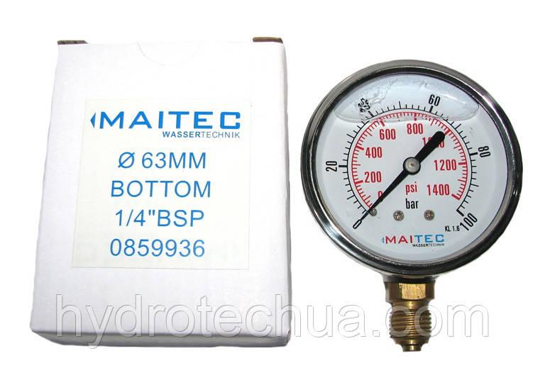 """Манометры радиальный глицериновый MAITEC (1/4"""") 0 - 100 бар"""