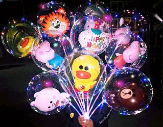 Светящиеся шары в комплекте с батарейками. Светящиеся шарики с диодами и шаром Микки Маус внутри