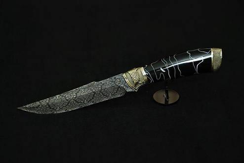 """Авторский коллекционный нож """"Тёмный рыцарь"""", мозаичный дамасск (наличие уточняйте), фото 2"""