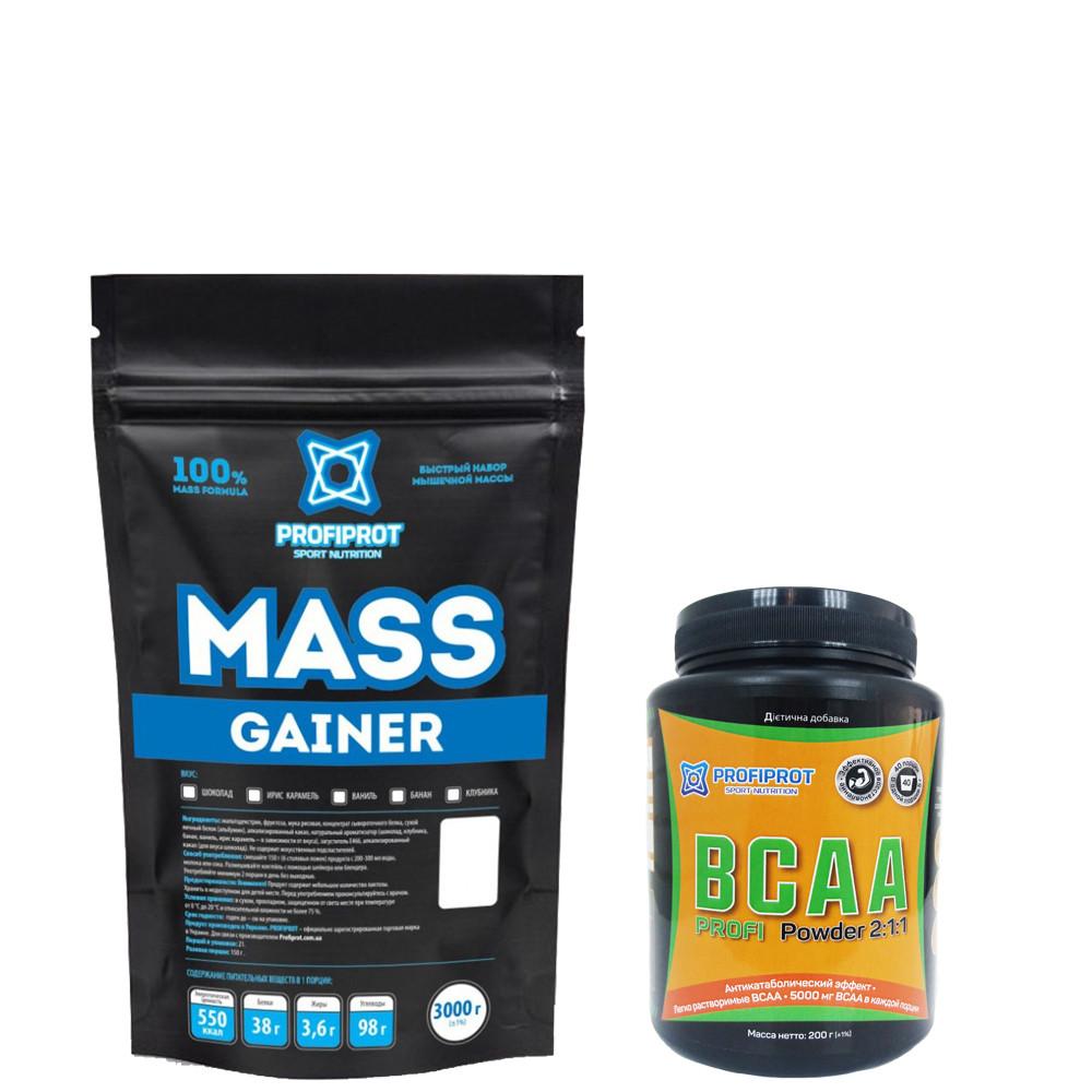 """Гейнер  """"MASS GAINER """" PROFIPROT 1 кг + Аминокиcлоты BCAA 2:1:1, 200г PROFIPROT"""