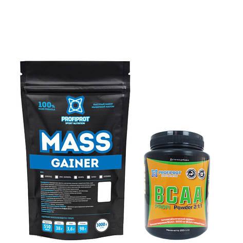 """Гейнер  """"MASS GAINER """" PROFIPROT 1 кг + Аминокиcлоты BCAA 2:1:1, 200г PROFIPROT, фото 2"""