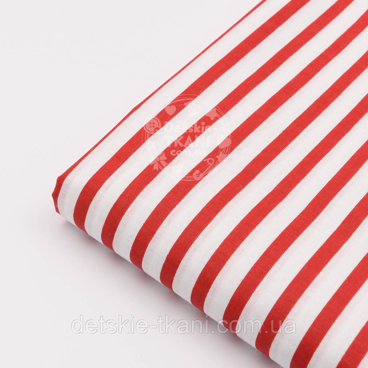 Лоскут ткани №136 бязь с крупной красной полоской