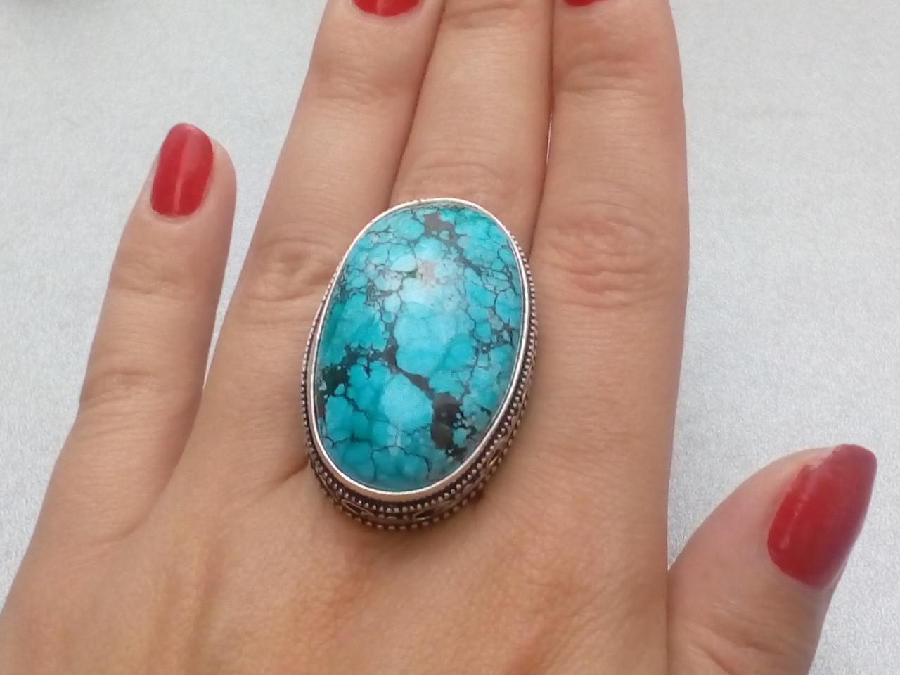 Бирюза кольцо с бирюзой 18 размер, натуральная бирюза в серебре