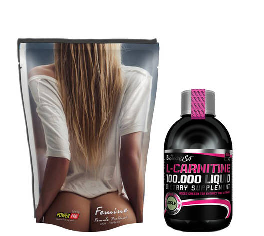 Протеин Power Pro Femine 1кг + L-carnitine 100.000 Liquid Biotech USA 500 мл, фото 2