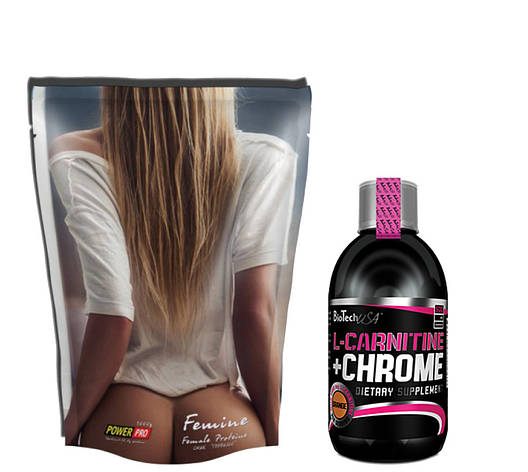 Протеин Power Pro Femine 1кг + L-Carnitine 35.000+ Chrome BioTech  500 мл, фото 2