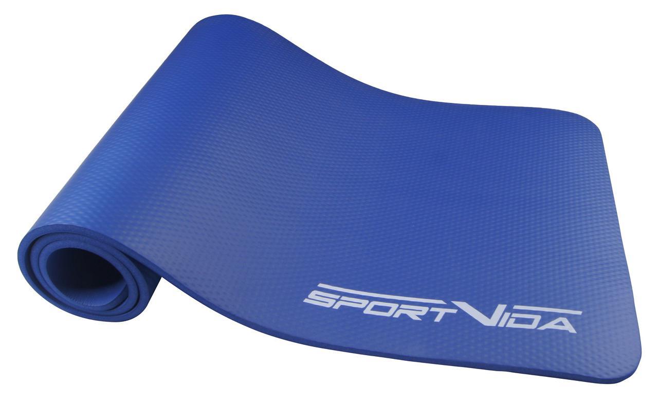 Коврик для тренировок текстурированный SportVida NBR 1 см Blue