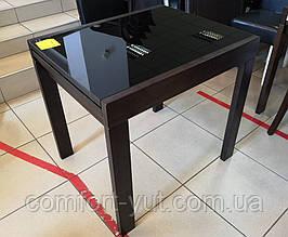 Стол обеденный Слайдер Венге  со стеклом  Черный,81,5(+81,5)*67см