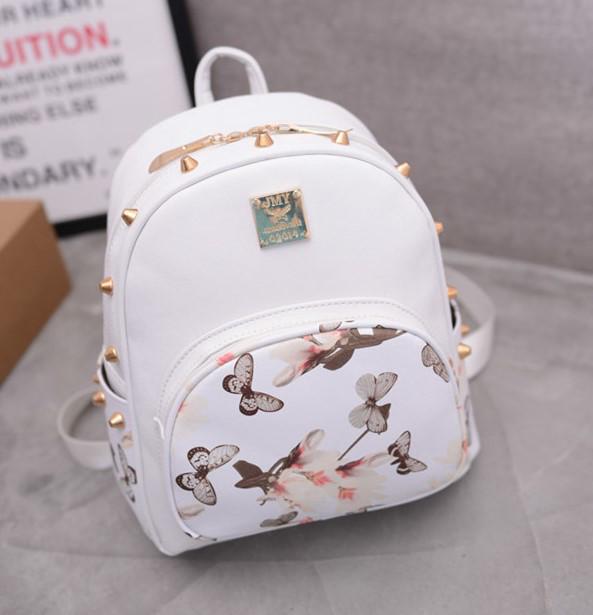 5b1db2035de1 Женский рюкзак белый с цветочным принтом и шипами опт купить по ...