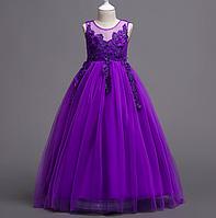 Платье фиолетовое бальное выпускное длинное в пол нарядное для девочки в садик или школу