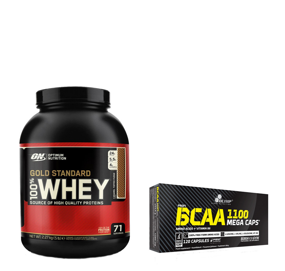 Протеин 100% Whey Gold Standard Optimum nutrition USA 2,27 кг + BCAA Mega Caps blister Olimp Labs 120 капс