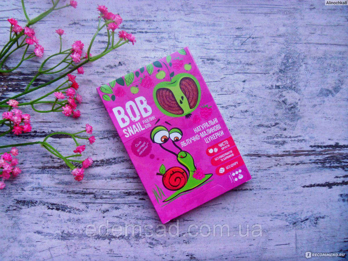 Натуральные конфеты BobSnail с яблоком и малиной, 30г