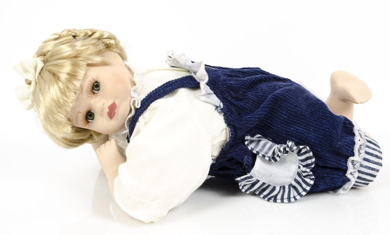 Фарфоровая лежачая кукла , 34 см, фарфор, Германия