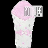 Демисезонный конверт плед 90х80 для выписки новорожденного осенний весенний одеялко осень весна 4320 Розовый 2, фото 1