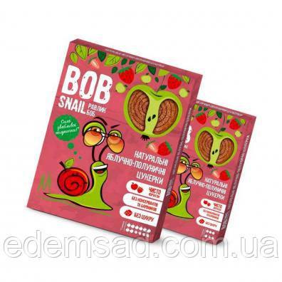 Натуральні цукерки BobSnail з яблуком і полуницею, 30г