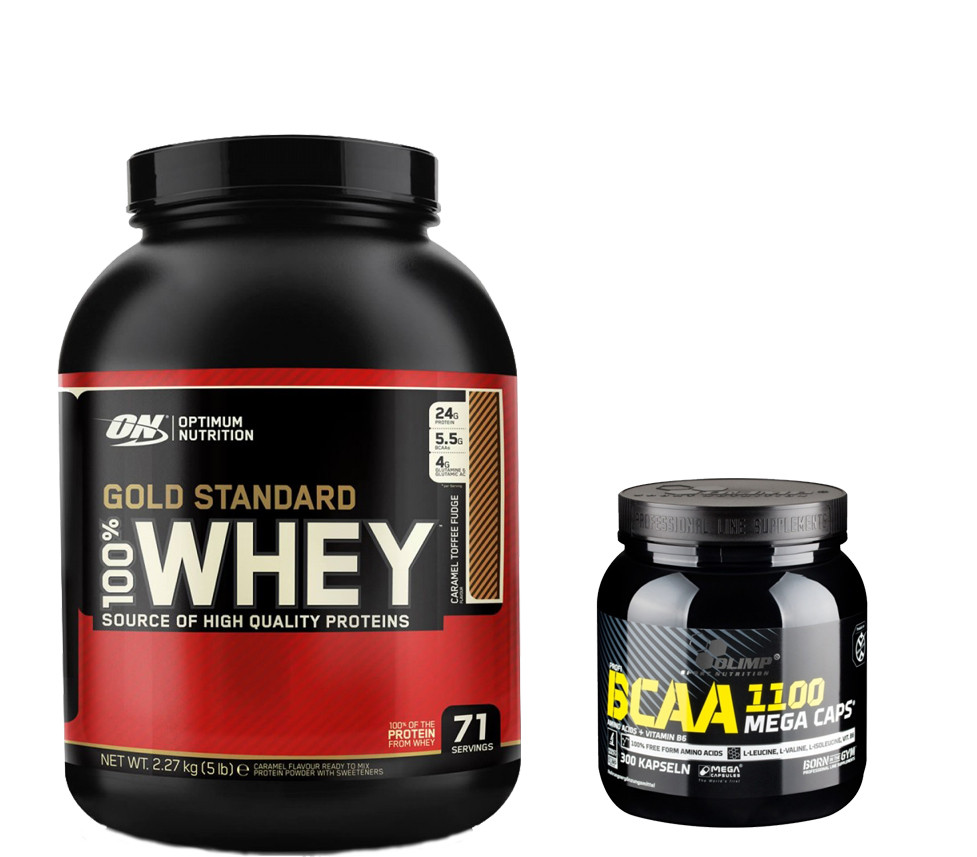 Протеин 100% Whey Gold Standard Optimum nutrition USA 2,27 кг + BCAAв капсулах Mega Caps Olimp Labs 300 caps