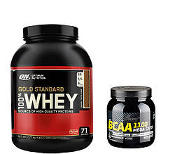 Протеин 100% Whey Gold Standard Optimum nutrition USA 2,27 кг + BCAAв капсулах Mega Caps Olimp Labs 300 caps