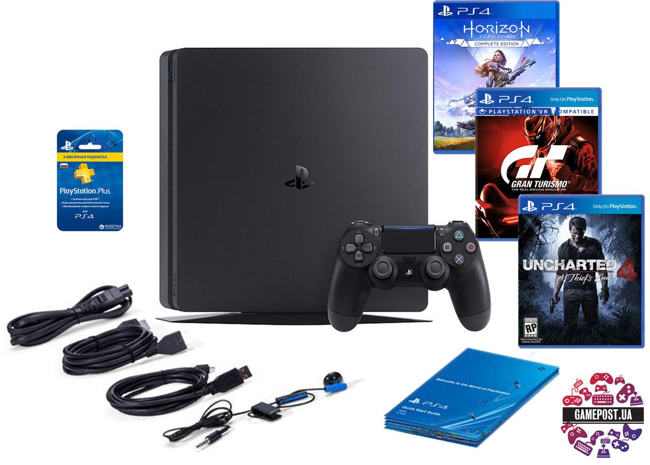 Игровая приставка PlayStation 4 Slim 500 Gb (HZD + GTS + UC4 + Wargami