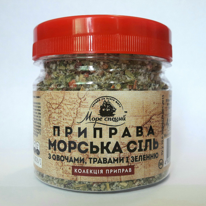 """Приправа """"Морская соль с овощами травами и зеленью"""" 100 г., баночка п/э"""