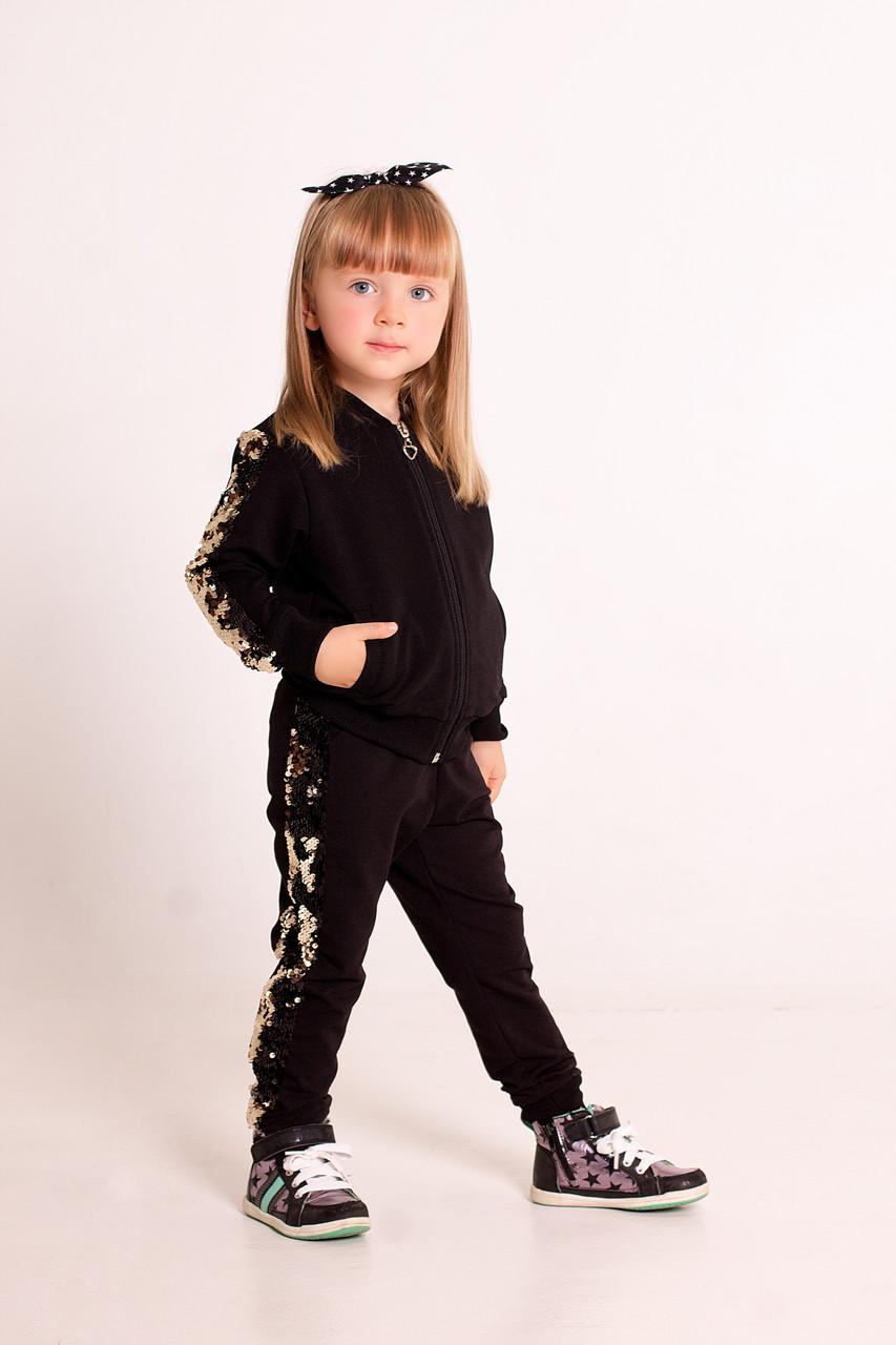 Костюм дитячий чорний двунитка, з лампасами-паєтки