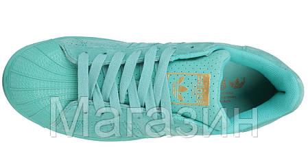 Женские кроссовки Adidas Superstar Supercolor Suede Sea Blue Адидас Суперстар голубые, фото 2