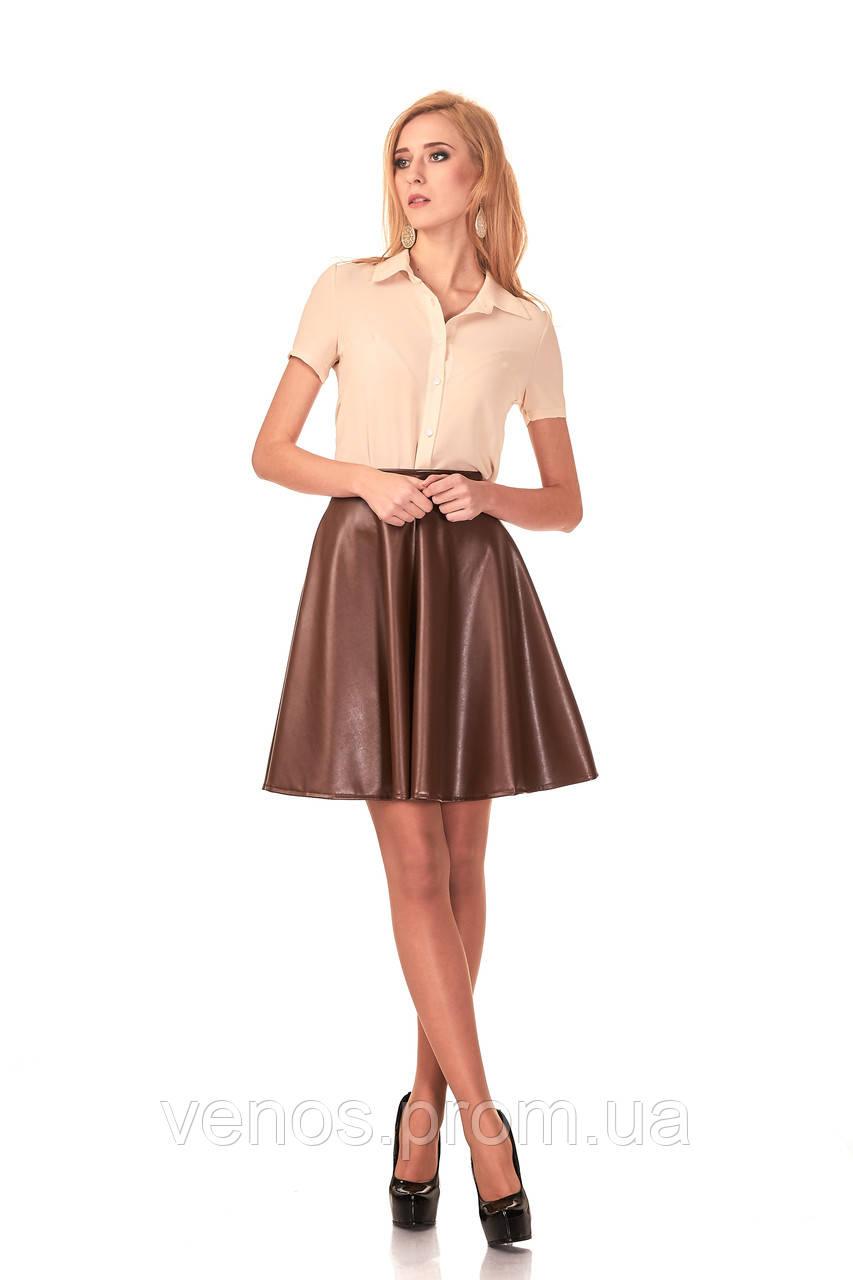 Женская юбка полусолнце из эко кожи . Ю042