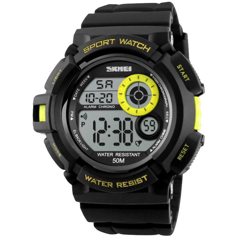 Часы Skmei Мод.1222 (подсветка: 7 цветов), черный-желтый, в металлическом боксе
