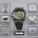 Часы Skmei Мод.1222 (подсветка: 7 цветов), черный-желтый, в металлическом боксе, фото 2
